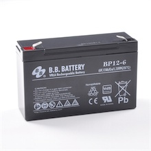 6V 12Ah batterie au plomb (AGM), B.B. Battery BP12-6, VdS, 151x50x94 mm (Lxlxh), Borne T2 Faston 250 (6,3 mm)