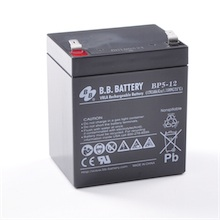 12V 5Ah Batterie au plomb (AGM), B.B. Battery BP5-12, 90x70x102 mm (Lxlxh), Borne T2 Faston 250 (6,3 mm)