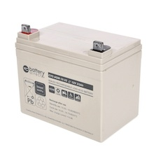 12V 33Ah batterie cyclique au plomb, battery-direct CYC-AGM-12-33, 195x129x155 mm (Lxlxh), Borne B7 (Vis écrou M6)
