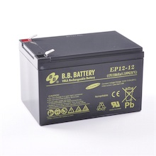 12V 12Ah Batterie au plomb (AGM), B.B. Battery EP12-12, 151x98x94 mm (Lxlxh), Borne T2 Faston 250 (6,3 mm)