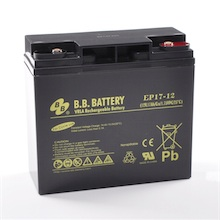 12V 17Ah batterie au plomb (AGM), B.B. Battery EP17-12, 181x76x166 mm (Lxlxh), Borne I1 (Insert M5)