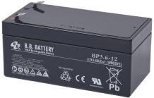 12V 3.6Ah Batterie au plomb (AGM), B.B. Battery BP3.6-12, 134x67x60 mm (Lxlxh), Borne T2 Faston 250 (6,3 mm)