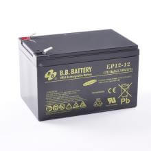 12V 12Ah batterie au plomb (AGM), B.B. Battery EP12-12, 151x98x94 mm (Lxlxh), Borne T2 Faston 250 (6,3 mm)