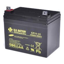12V 33Ah batterie au plomb (AGM), B.B. Battery EP33-12, 195x129x155 mm (Lxlxh), Borne B7 (Vis écrou M6)