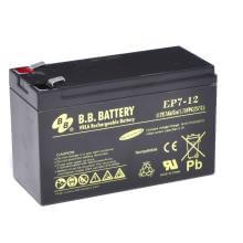 12V 7Ah Batterie au plomb (AGM), B.B. Battery EP7-12, 151x65x93 mm (Lxlxh), Borne T2 Faston 250 (6,3 mm)
