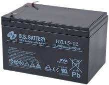12V 15Ah batterie au plomb (AGM), B.B. Battery HR15-12, 151x98x94 mm (Lxlxh), Borne T2 Faston 250 (6,3 mm)